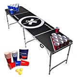 Beer Pong Tisch Set - Audio Table - inkl. 100 Becher (50 Rot & 50 Blau), 6 Bälle, Regelwerk & 2 Gratis Bier Pong Racks