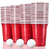 TRESKO Rote Partybecher 100 Stück | Beer Pong Party Cups | 473 ml (16 oz) | Bierpong Becher extra stark | Kunststoffbecher Plastikbecher Camping